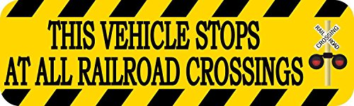 StickerTalk 10in x 3in Signal This Vehicle Stops at All Railroad Crossings Magnet