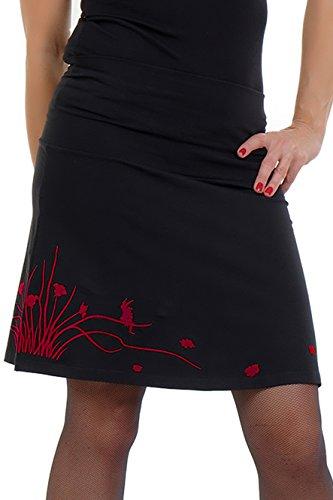 in A d'impression Jupe noir Ligne courte prairie dames made Femme Gothique elfes Rouge et fleur t berlin 8816qrwE