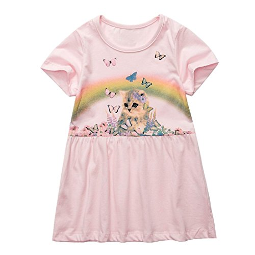 1ca551bfcc9 Amazon.com  Sooxiwood Little Girls Dress Cute Cat Butterfly Size 6 Pink   Clothing