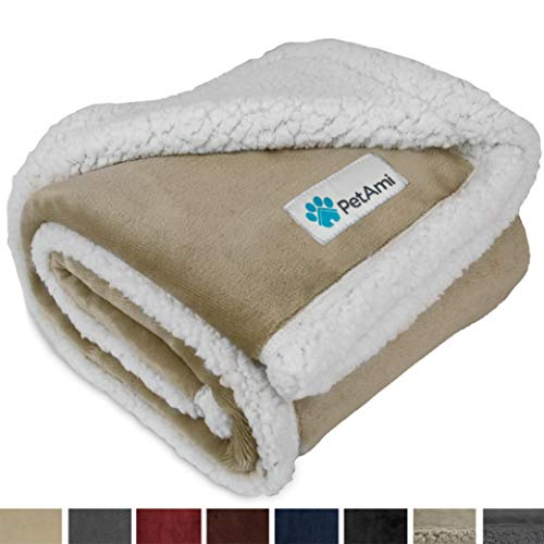 PetAmi Premium Puppy Blanket | Pet Small Dog Blanket for Cats, Kitten | Soft, Warm, Plush, Reversible Fleece Sherpa Throw – 30×40 Inches Taupe