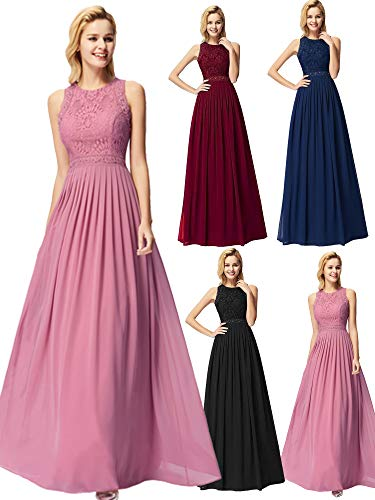 Ever-Pretty Women Elegant A Line Long Pleated Prom Dress with Lace Bodice 14US Orchid ()