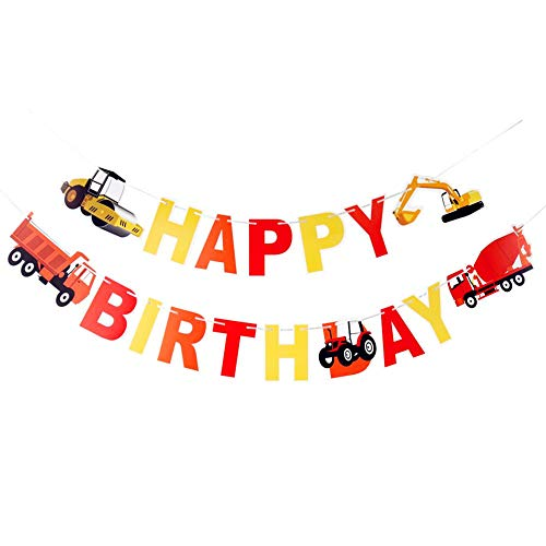 (Construction Vehicle Happy Birthday Banner Party Supplies, Baby Boy Toddler Kids Birthday Truck Decorations ¨C Huge 55-inch and 47-inch Long Under Construction)