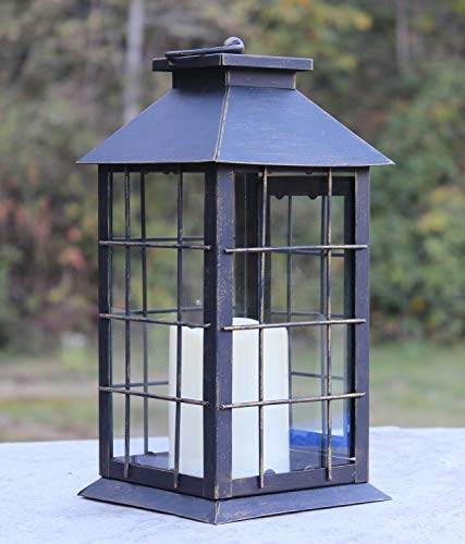 - Seraphic Country Style Rustic Metal Lantern with Flickering Flameless LED Candle