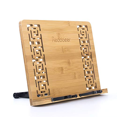 Reodoeer Bamboo Book Stand Reading Rest Cook Book Document Holder Foldable Pad Textbook Files Stand by Reodoeer (Image #7)