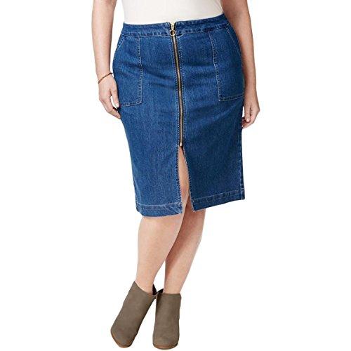 Style & Co. Womens Plus Stretch Zipper Denim Skirt Blue 20W (. Skirt Co & Style Spandex)