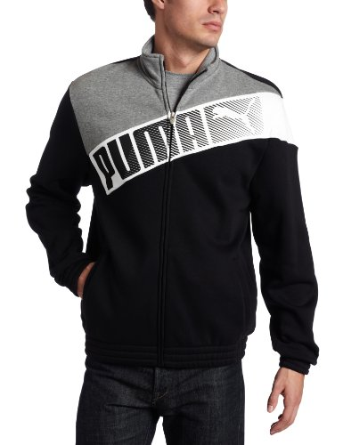 (PUMA Men's Sweat Track Jacket Black Large)