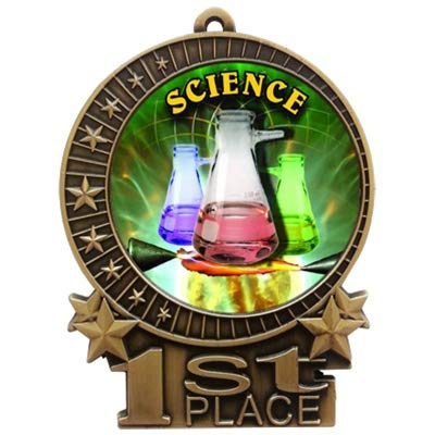 (Express Medals Large 3 inch Science Fair 1st Place Medal Gold with 3 Lines of Personalized Free Engraving and Neck Ribbon Award Trophy XMD (5))