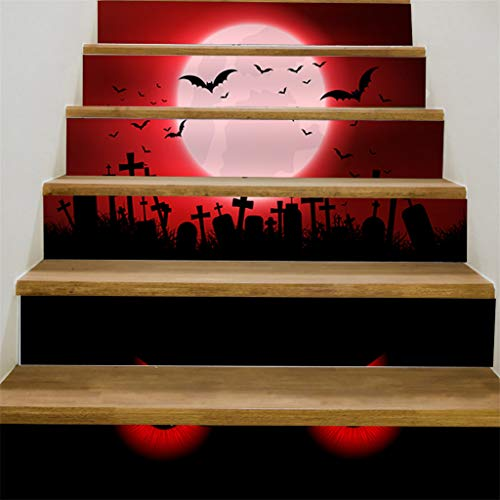 Iusun Halloween 3D Sticker Crow Tombstone Staircase Sticker Waterproof Removable DIY Wall -