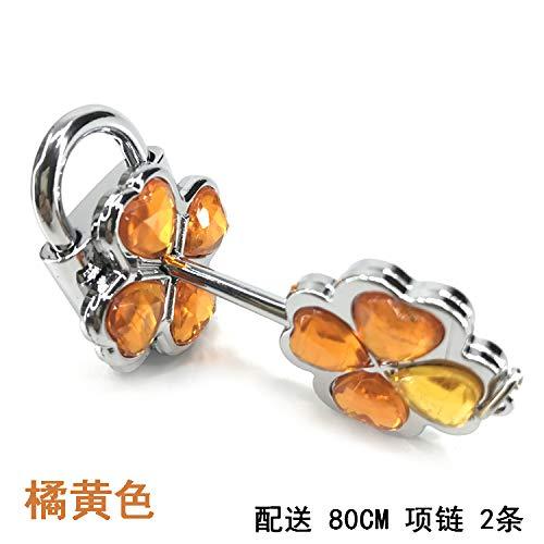 (anime shugo chara necklace pendant chain lock key couple concentric can open locks (orange)