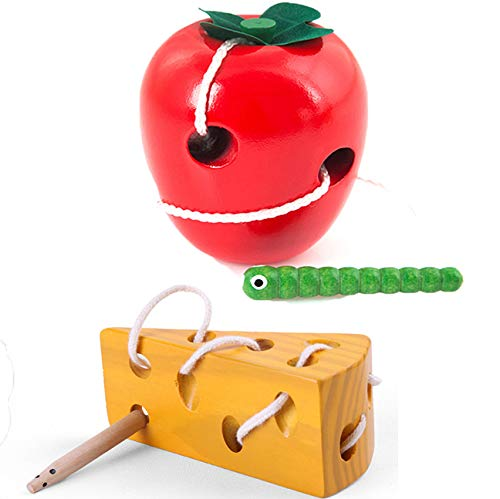Apple Educational Toys Wooden Strings To Wear Rope Caterpillars Eat Apple Puzzle Toy for Developing Intelligence,Sealive Wood Apple Montessori Toys Beads Lacing Threading Toy Apple For Kids Toddlers