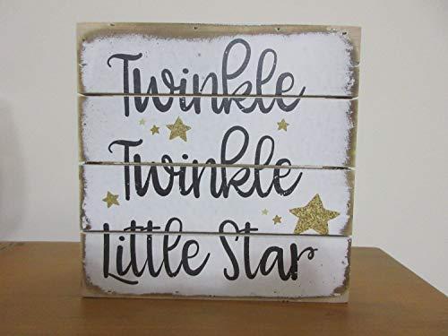 Susie85Electra Baby Gift Baby Boy Baby Girl Twinkle Twinkle Star Sign Rustic Wood Sign Nursery Decor