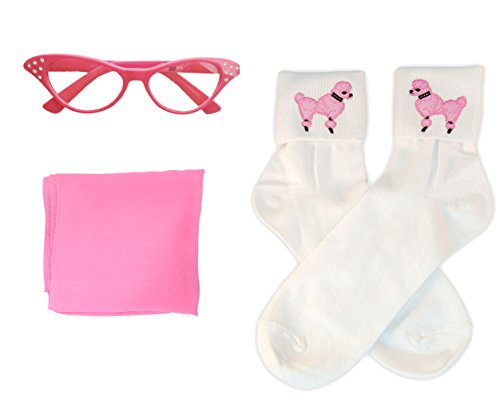 50s Costume Accessory Set Chiffon Scarf, Cat Eye Glasses and Bobby Socks for Women, Hot (Chiffon Socks)