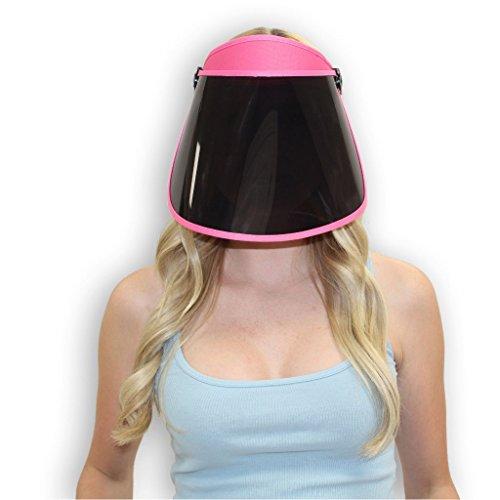 (Solar Face Shield Sun Visor Hat in Pink Full Face Sun Protection UPF 50 Post Peel Face Protector)