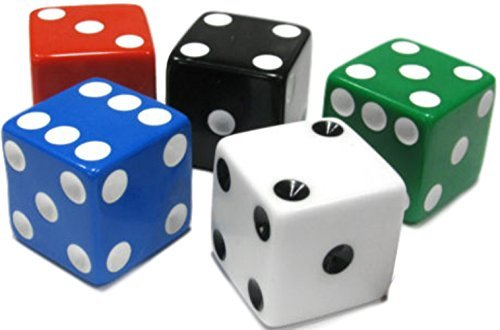 25 Blue Dice - Custom & Unique {Assorted XL Big Large 25mm} 5 Ct Pack Set of 6 Sided [D6] Square Cube Shape Playing & Game Dice Made of Plastic w/ Rounded Corner Edges w/ Classic Design [Green, Black, Red & Blue]