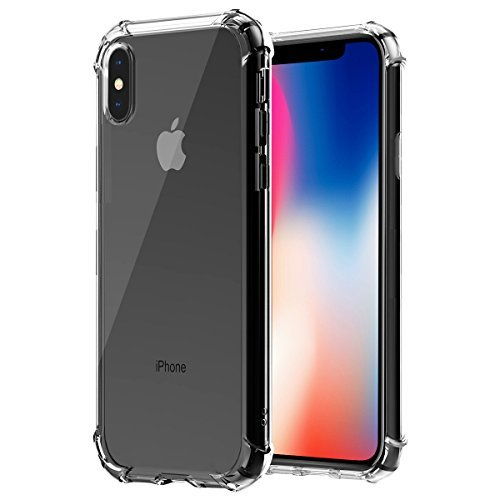 Ifecco Crystal Clear iPhone X Case, Clear Slim Shockproof Cover Case [Shock Absorption] with Transparent Hard Plastic Back Plate and Soft TPU for Apple iPhone X iPhone 10, 1 Pack