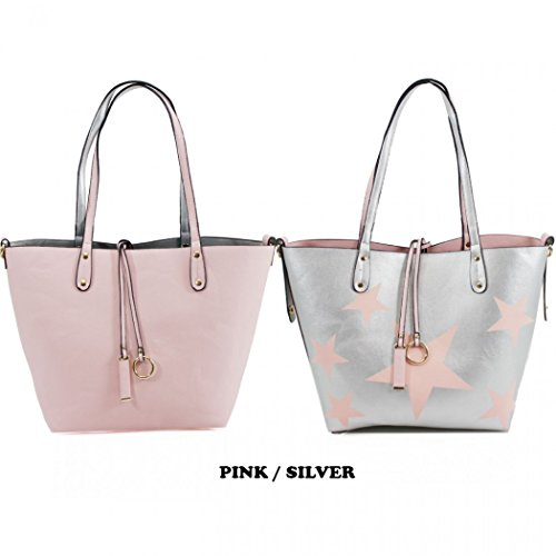 2 Reversible In Handbags Bags 9002 Pink Shopper Silver Women's Shoulder 1 LeahWard qUap5tnxw