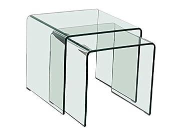 Beistelltische Glastisch 2er Set Quadratisch Amazonde Küche