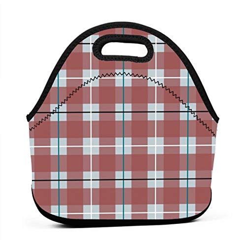 Arctic Plaid_28435 Waterproof Insulated Lunch Portable Carry Tote Picnic Storage Bag Lunch box Food Bag Gourmet Handbag For School Office -