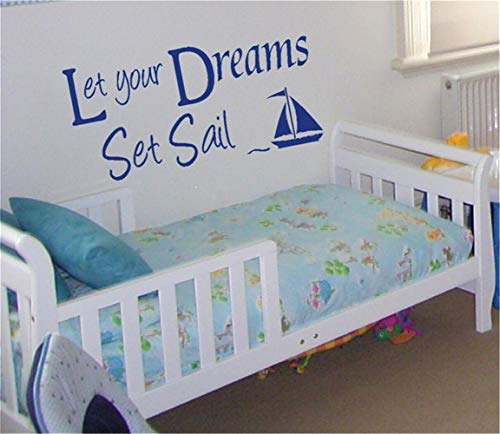 Cbina Wall Decal Removable Quote Decor Design Decal Let Your Dreams Set Sail for Nursery Kid Bedroom for Living Room