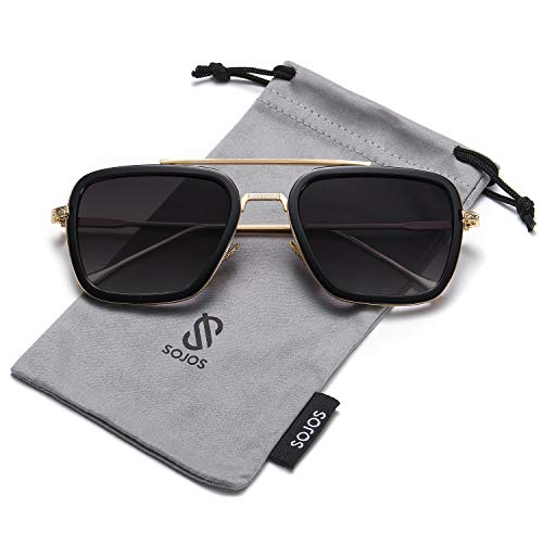 SOJOS Retro Aviator Square Sunglasses for Men Women Goggle Classic Alloy Frame Gradient Flat Lens HERO SJ1126 with Gold Frame/Black Rim/Black ()