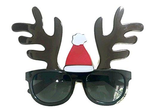 Christmas Fancy Funny Glasses Santa Claus Hat Reindeer Sunglasses Christmas Costume Ornaments Party Decoration Glasses (Reindeer-Santa Hat)