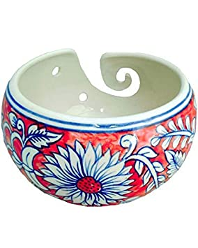 Handmade Knitting and Crocheting Storage-Holder with Swirl Handcrafted Design Gift for Knitters Javi 7x7x4.1 Inch Ceramic Yarn Bowl Blue Color