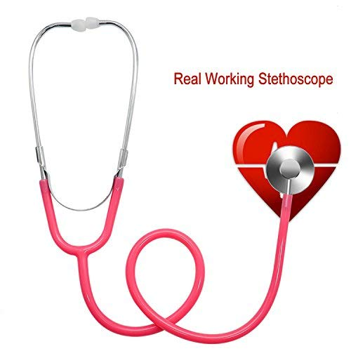 Buorsa Real Working Stethoscope For Kids Doctor Role Play Dual Head Stethoscope,Pink