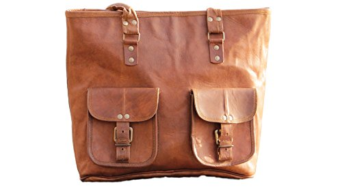 Real Vision Made 12inch Handmade Genuine Leather Tote Bag Office bag Carry bag Hobos Bag