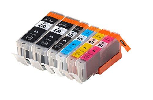 4Benefit Compatible PGI270XL (PGI-270 XL, CLI-271 XL) CLI271XL Black and Color COMBO High Yield Ink Tank Replacement Cartridges for Pixma MG6820 MG6821 MG6822 MG5720 MG5722 MG7720 (6 (Replacement Color Ink Tank)