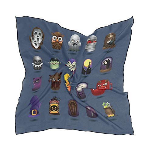 Silk Scarf Halloween Icons Set Square Headscarf 23 x 23 inches for Women -