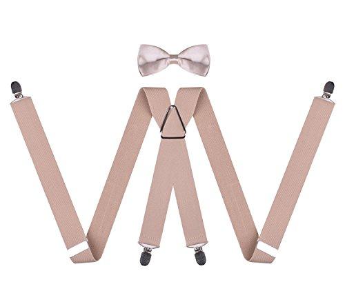 [Beige Bow Tie Tuxedo Suspenders for Mens Bowtie and Suspenders Set Beige] (Spirit Halloween Return Policy)