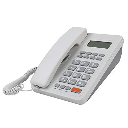 Hotel Telephone - Corded Telephone, Home Hotel Wired Corded Desktop Phone Caller ID Office Landline Fixed Telephones with English Display DTMF/FSK Support (White)