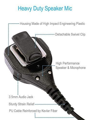 Remote Speaker Mic with Reinforced Cable for Motorola Radios XPR6380 XPR6580 XPR7380 XPR7580 XPR7350e XPR7380e XPR7550e XPR7580e XPR 6380 6580 7380 7580 7350e 7380e 7550e 7580e, Shoulder Microphone
