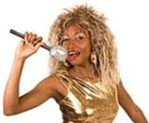 [Tina Turner Fancy Dress Wig, Mic & Face Paint Kit] (Tina Turner Wig)