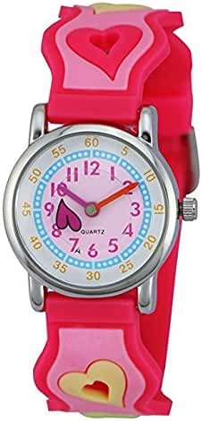 Zeiger New Fashion Toddler Children Kids Girls Watches Ages 5-10 Time Teacher, Cartoon Pattern 3D Band (Pink)