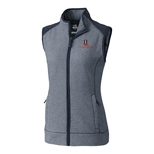 Cutter & Buck NCAA Illinois Illini Adult Women Cedar Park Full Zip Vest, Large, Liberty Navy Heather - Illinois Womens Hoody Zip Sweatshirt