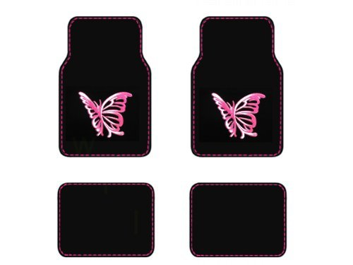 Front & Rear Carpet Floor Mats - Pink White Butterfly (Nature Car Floor Mats compare prices)