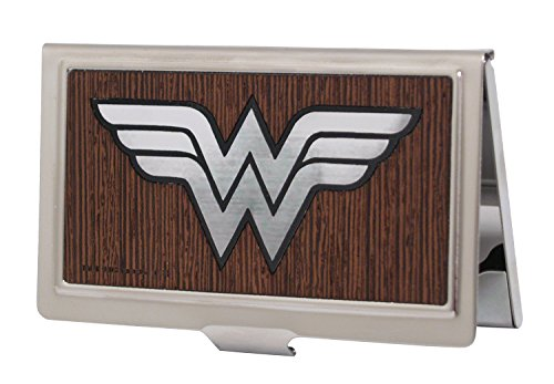 Buckle-Down Business Card Holder - Wonder Woman Logo Marquetry Black Walnut/Metal - Large by Buckle Down