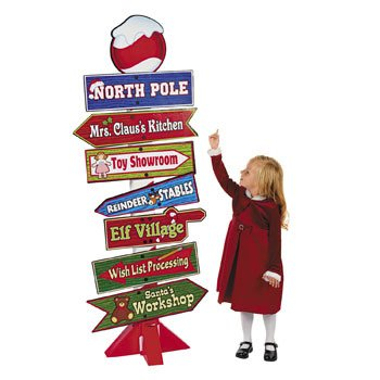 Deluxe Giant North Pole Directional Sign - 5 Feet Tall!