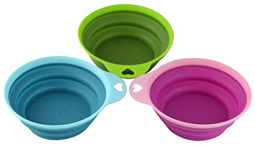 Southern Homewares Collapsible Silicone Pet Bowl Travel Set, 3 Piece for Home, Pets (Water/Feed), Dorms, Camping -