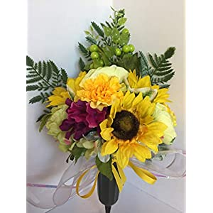 GRAVE DECOR - CEMETERY MARKER - FUNERAL ARRANGEMENT - MEMORIAL ARRANGEMENT - YELLOW SUNFLOWERS, YELLOW MUMS, GREEN RANUNCULUS, GREEN & WHITE HYDRANGEAS, BURGUNDY HYDRANGEAS, GREEN BERRIES 24