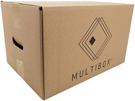 Pack 20 Cajas Cartón Mudanza y Almacenaje Con Asas Reforzado (51617) Resistente 430x300x250mm Fabricado En España diseño ergonómico Multiusos logística Mercancías ...