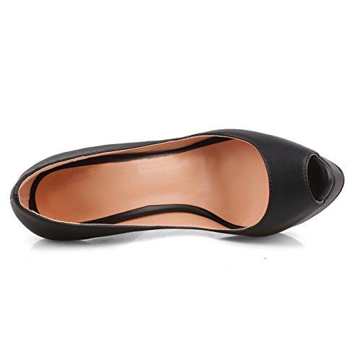Chris-t Womens Stiletto Talon Plateforme Peep Toe Pompes Noir-mat
