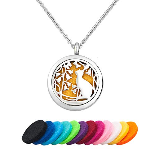 Moonlight Collection Cat Essential Oil Diffuser Necklace Pet Kitten Aromatherapy Locket Pendant + Refills