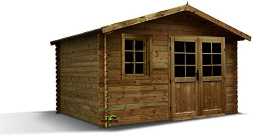 Caseta de jardín madera ALOHA 9, 76 m2 28 mm: Amazon.es: Jardín