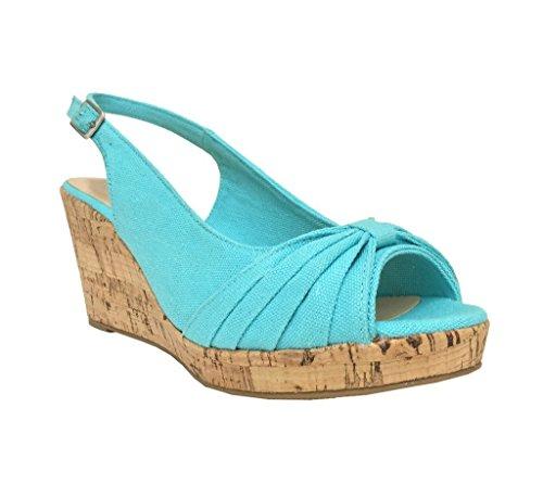 City Classified Womens Ralph Peep Toe Platform Cork Wedge Sling-Back Sandal in Blue Cotton