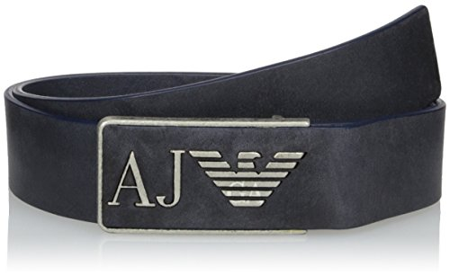 Armani Jeans Men's Clean Tumbled Leather Belt, Navy, 38 (Armani Jeans Leather Belt)