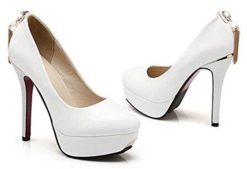 Idifu Womens Habillé Franges Plate-forme Haute Talons Aiguilles Faible Top Slip Sur Les Pompes Chaussures Blanc