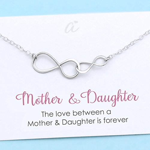 (Mother and Daughter Necklace Sterling Silver Double Infinity Personalized Gift Birthday Christmas Wedding Infinite Love)