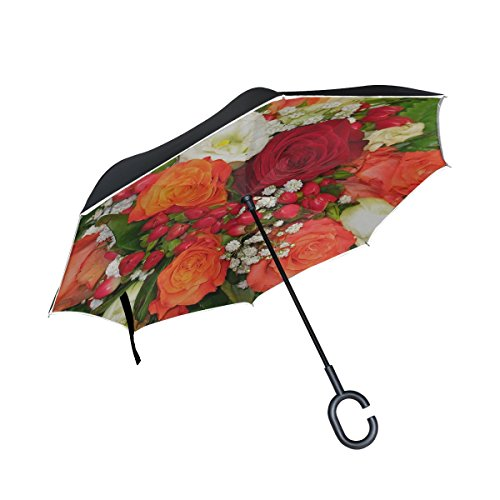 Rose Purple Florist (Double Layer Inverted Bouquet Of Flowers Florist Bouquet Of Roses Bouquet Umbrellas Reverse Folding Umbrella Windproof Uv Protection Big Straight Umbrella For Car Rain Outdoor With C-shaped Handle)